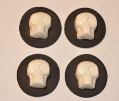 Halloween Skulls Fondant Cupcake Cake or Cookie by iamladycupcake, $14.95