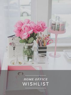 home office – workspace – decor – supplies – organizing – styling – details – white – girly – office life Home Office Space, Office Workspace, Home Office Design, Home Office Decor, Home Decor, Office Spaces, Office Furniture, Desk Space, Pink Office Decor