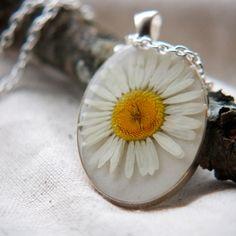 pressed flower necklace white daisy real botanical Pendant Jewelry resin jewelry boho chic prairie. $50.00, via Etsy.