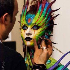 Matteo Arfanotti Queen of Atlantis in progress Photo: Andrea Menconi — con Kiara Aradia presso INTERNATIONAL WINTER BODY ART FESTIVAL. 9 febbraio 2014