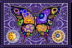 Celestial Butterfly - Purple - Tapestry, 90 x 60 in., SKU: 008140