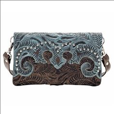American West Leather Ladies Womens Folded Clutch Wallet Handbag Purse Spots #WomenGymBags