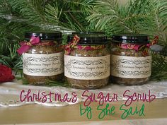 What a fun, cheap christmas gift idea...homemade sugar scrubs! This site has many ideas for different types of sugar scrub for every season