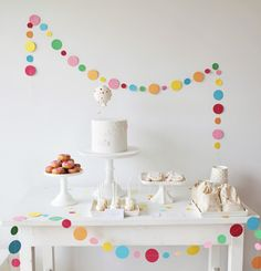 A Sprinkle & Confetti Birthday Party from Sweet Style - A Sprinkle & Confetti B. - A Sprinkle & Confetti Birthday Party from Sweet Style – A Sprinkle & Confetti Birthday Party fro - Simple Birthday Decorations, Birthday Party Decorations, Birthday Parties, White Dessert Tables, White Desserts, Baby Sprinkle, Sprinkle Party, First Birthdays, Sweet Style
