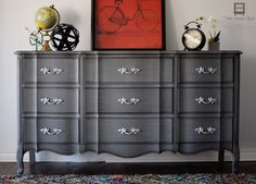 Upcycled french provincial dresser ~ GRAY(HMCP) WITH BLACK GLAZE (DIDN'T SEAL HMCP B4 GLAZING)