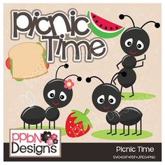 Picnic Time Ants Digital Clipart for Card Design, Scrapbooking and Web Design by PPbNDesigns, $2.00