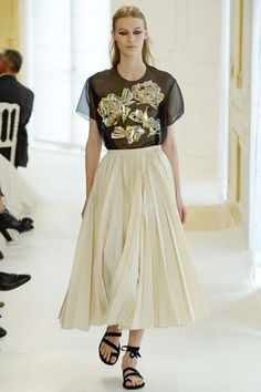 Luxe Runway Fashion   Fall 2016 Couture   Christian Dior   Black sheer top with mettalic gold appliques and cream A-line pleat midi skirt   The Luxe Lookbook