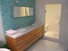 Love mid century modern, bathroom idea, bath vanities, bathroom remodel, shower, master baths, midcenturi modern, mosaic tiles, modern bathrooms