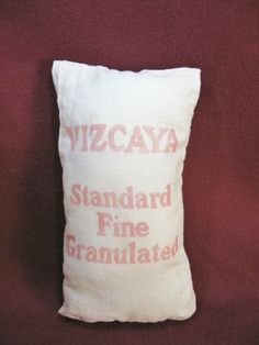 Early VIZCAYA Sugar Advertising Bag Cloth Sack ~ Standard Fine Granulated ~ Red & White ~ Vintage $7.00