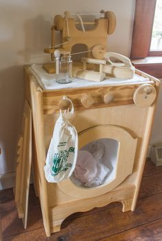 Wooden Washing and Sewing Machine | Setting Up A Simple Doll Laundry Center! | Simplicity Spaces