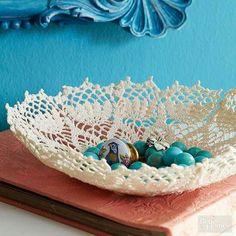Fabric stiffiner,bowl, doily make doily bowls