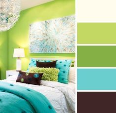 Bedroom Color Schemes, Bedroom Colors, Bedroom Decor, Bedroom Ideas, Wall Colors, House Colors, Colours, Green Rooms, Bedroom Green