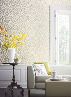 Option for hall bath if you keep the existing hall wallpaper. Whisper Wallpaper in Cream design by Candice Olson