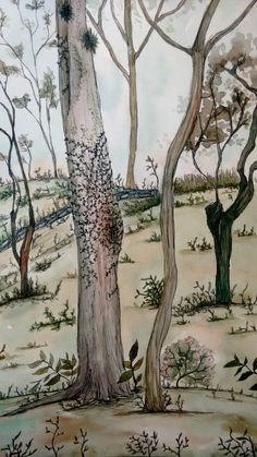 Aquarela e nanquim. Dimensões: 29,7 cm x 21 cm////Watercolor, nankin. Dimensions: 29,7 cm x 21 cm////#desenho #aquarela #paisagem #ilustração #floresta #nanquim #plantas #drawing #watercolor #landscape #ilustation #woods #nankin #plants