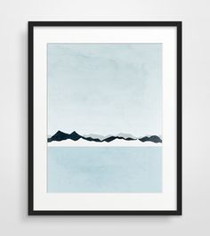 * BOXING WEEKEND SALE * Take 15% off by using coupon code BOXING15 *  Minimalist abstract landscape art of icy mountains and ocean. Calm and soft palette