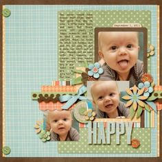 Baby Scrapbooking Ideas | Happy - Scrapbook.com - #scrapbooking #layouts #baby by dollie