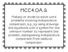 Common Core Standards Posters for Fourth Grade Math ~ The Vivacious Teacher