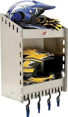 Phoenix USA Two Helmet Aluminum CORNER Storage Shelf - Aluminum - Motorcycle - The Garage Store