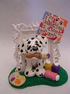 My dalmatian is a work of art. (polymer clay) by claykeepsakes