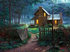 We are a group of art galleries serving the Monterey Bay, Central Coast, & Northern California areas. We are proud to present the artwork of Thomas Kinkade, Thomas Kinkade Art, Kinkade Paintings, Thomas Kincaid, Art Thomas, Welcome Summer, Arte Country, Pictures To Paint, Beautiful Paintings, Farm Life