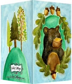 Black bear with acorns and little trees original watercolor art by @Violet Cottage - $14 for ten cards - Small business card sized greeting cards http://www.violetcottage.com/small-enclosure-cards/334-small-enclosure-card-black-bear.html