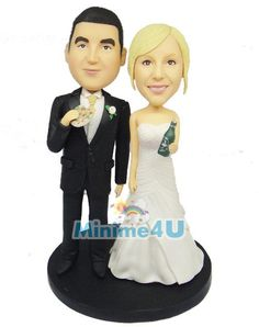 very funny wedding cake topper template, the groom holds a slice of pizza and the bride holds a bottle of beer. very unique wedding cake topper template. Funny Wedding Cake Toppers, Unique Cake Toppers, Wedding Stuff, Our Wedding, Wedding Ideas, Mini Me, Groom, Pizza, Beer