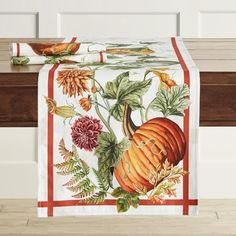 Bring the essence of fall to the table with decorative pumpkins, vines and apples. Tailored of cotton for everyday dining and casual entertaining, this runner pairs beautifully with solid-colored dinnerware and adds an eclectic element to table se… Pumpkin Vine, Pumpkin Wreath, Autumn Table, Bed Linen Design, Pumpkin Decorating, Table Covers, Thanksgiving Decorations, The Fresh, Botanical Prints