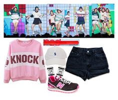"""""""Red Velvet - Dumb Dumb"""" by marissa-malik ❤ liked on Polyvore featuring Levi's and New Balance"""