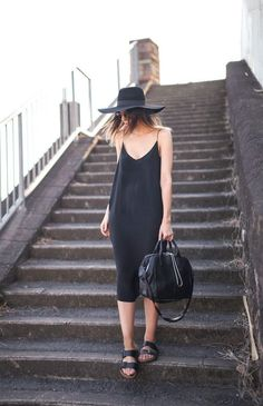 Simple black dress for summer