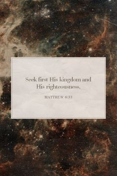 Seek first His kingdom and His righteousness. Amen! www.reachavillage.org