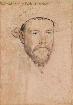 Portrait of Edward Stanley, Earl of Derby. He was cupbearer to Anne Boleyn, a patron of Holbein. He was active in the suppression of the Northern Rebels, 1536–37.