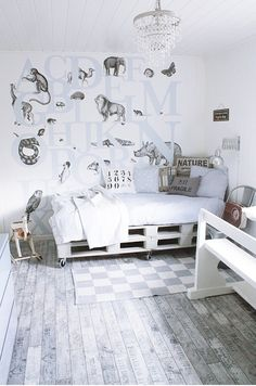 Grey and white very cool kid's room. Check out the detail on the wall!
