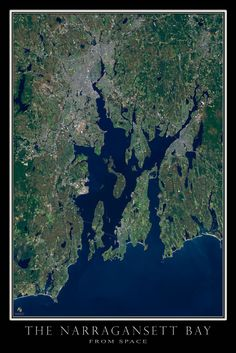 Narragansett Bay Rhode Island - Massachusetts Satellite Poster Map