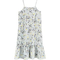 Slip Dress V Neck Sleeveless Ruffled Hem Floral Pattern Midi Dress (935 DOP) ❤ liked on Polyvore featuring dresses, vestidos, платья, calf length dresses, slip dress, midi slip dress, sleeveless floral dress and floral slip dress