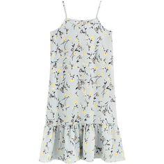 Slip Dress V Neck Sleeveless Ruffled Hem Floral Pattern Midi Dress (360 MXN) ❤ liked on Polyvore featuring dresses, vestidos, платья, floral midi dress, calf length dresses, v-neck dresses, mid calf dresses and sleeveless dress