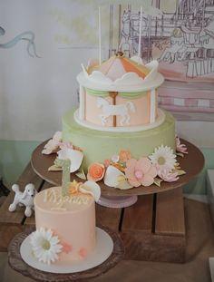 Carousel cake at Parisian theme first birthday