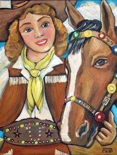 Cowgirl painting original art by Oregon artist Shawna June Lee. This cowgirl painting original art features a darling rider and her horse pal all decked out in their parade finery $395 luckystargallery.com