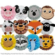 TheCraftyShop™ 12 Tissue Paper Flower Animal Pom Pom Kit - Perfect DIY Decoration Project Kit for Birthday, Baby Shower, Indoor, Outdoor (Animal Kit) Party Animals, Animal Party, Jungle Theme Birthday, Animal Birthday, Safari Party, Noahs Ark Party, Idee Baby Shower, Jungle Decorations, Tissue Paper Crafts