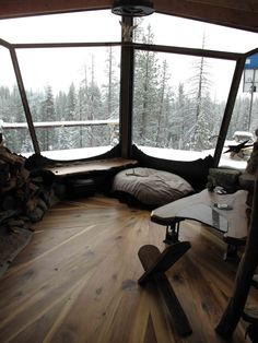 An off-grid 225 square feet stone cabin in Truckee, California. Owned and built by professional snowboarder Mike Basich. (pinned by haw-creek.com)