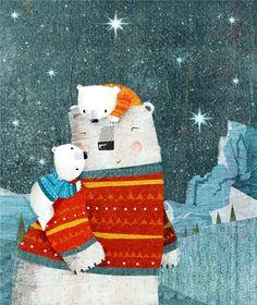 Polar Bear cuddle. By Rebecca Elliott