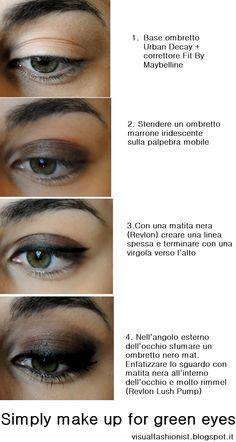 Trucco occhi verdi facile con Sleek make up http://visualfashionist.blogspot.it/2013/03/tutorial-trucco-occhi-verdi-semplice.html#more