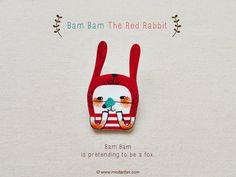 Bam Bam The Red Rabbit  Handmade Shrink Plastic by minifanfan, $10.00
