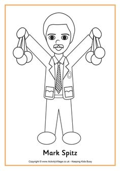 mark spitz colouring page