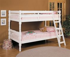 Shop Acme Furniture Homestead White Twin over Twin Bunk Bed with great price, The Classy Home Furniture has the best selection of Bunk Beds to choose from Bunk Bed Sets, Girls Bunk Beds, White Bunk Beds, Wooden Bunk Beds, Bunk Bed With Trundle, Full Bunk Beds, Acme Furniture, Kids Furniture, Bedroom Furniture