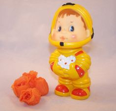 Vintage Soviet Toy Spaceman. Yellow Rubber Doll Astronaut. USSR 1980s Child Room Decor.