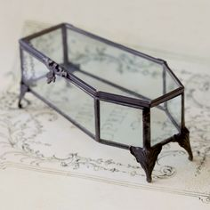 Glass dark antique jewellery casket. Store your Regal Rose jewels in our coffin shaped jewellery box casket.