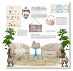 """All you need are books and tea"" by anna-survillo ❤ liked on Polyvore featuring interior, interiors, interior design, home, home decor, interior decorating, Revé, Pieces, Currey & Company and Kitchen Craft"