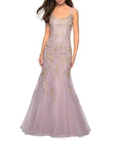 Buy La Femme Designer Sleeveless Golden Lace Applique Mermaid Gown with Strappy-Back. Mermaid Skirt, Mermaid Gown, Formal Evening Dresses, Evening Gowns, Formal Gowns, Formal Dress, Tulle Prom Dress, Prom Dresses, Lilac Wedding Dresses
