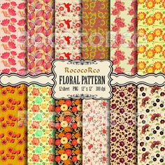 50% OFF SALE Digital Scrapbook Paper Pack Floral by RococoRco