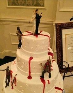 Zombi cake anyone.   I have bakers who can, and will do this.  Www.markbrenneisen.com